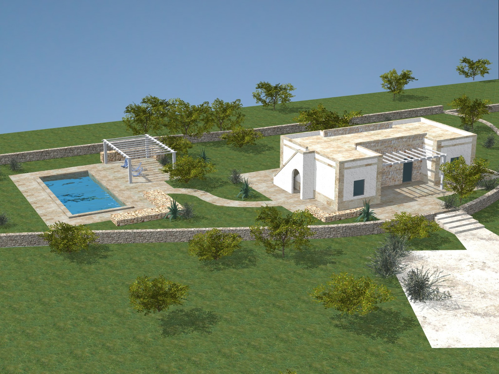 Land with approved Villa with Pool Project in Ostuni